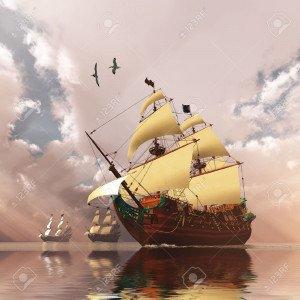 13914509-navires-de-l-antiquité-trois-grands-voiliers-toutes-voiles-dehors-traverser-un-vaste-océan-luisant-me